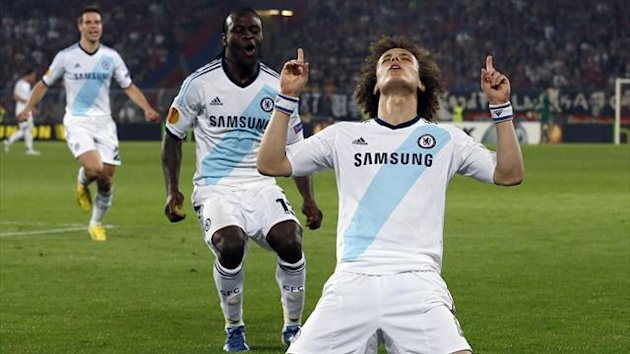 Chelsea's David Luiz (R) celebrates scoring a goal against FC Basel during theEuropa League semi-final first leg soccer match at St. Jakob Park stadium in Basel April 25, 2013 (Reuters)