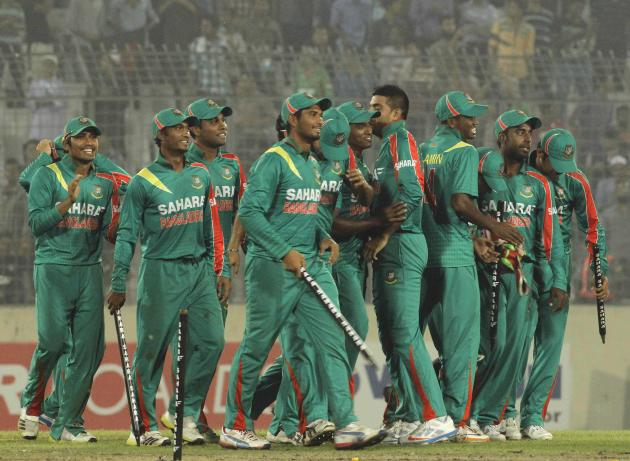 Bangladesh players celebrate after winning the second one-day international cricket match and the series against New Zealand in Dhaka