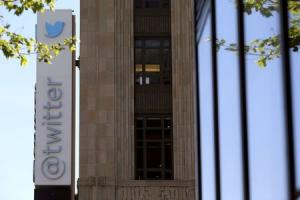 The Twitter logo is pictured at its headquarters on Market Street in San Francisco