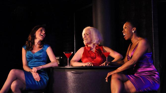 """This undated image released by Bitten By a Zebra shows, from left, Catherine Porter as Lily, Babs Winn as Mary-Marie? and Brenda Braxton as Clarity in a scene from """"Cougar the Musical."""" (AP Photo/Bitten By a Zebra)"""