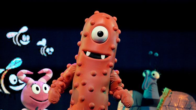 Muno performs onstage at Yo Gabba Gabba! Live!: Get The Sillies Out! 50+ city tour kick-off performance on Thanksgiving weekend at Nokia Theatre L.A. Live on Friday Nov. 23, 2012 in Los Angeles. (Photo by John Shearer/Invision for GabbaCaDabra, LLC./AP Images)