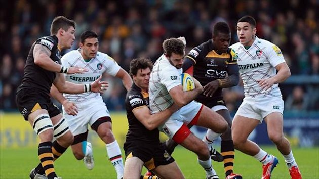 Wasps' Ben Jacobs, here tackling Leicester's Naill Morris, has been ruled out for the season after suffering ankle ligament damage.