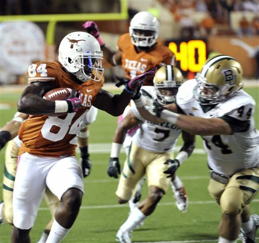 Bergeron's 5 TDs lead Texas over Baylor 56-50