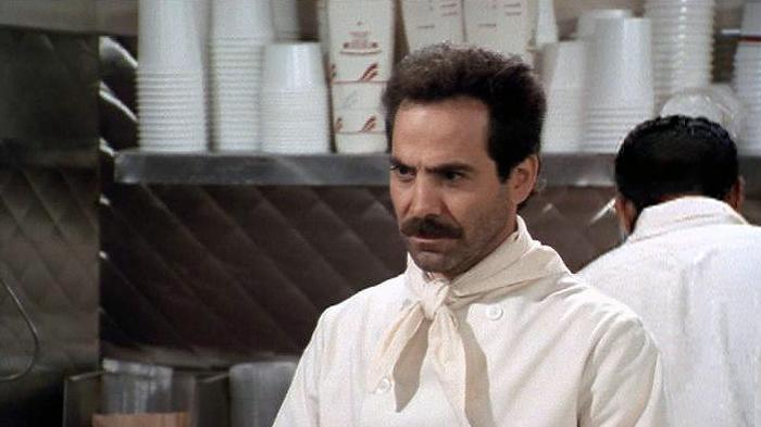 """The Soup Nazi"" - A demanding soup stand chef bans Elaine from eating his wares. Seinfeld"