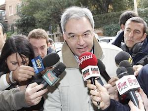 Italian Serie A president Beretta talks to reporters as he arrives to attend a meeting in Rome