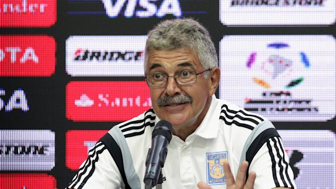 Mexico's Tigres coach Ferretti speaks to the media during a news conference after the first leg of their Copa Libertadores soccer match final against Argentina's River Plate in Monterrey