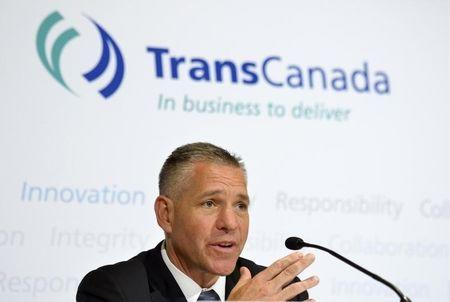 TransCanada President and Chief Executive Officer Russ Girling addresses the media after the Annual General Meeting in Calgary, Alberta