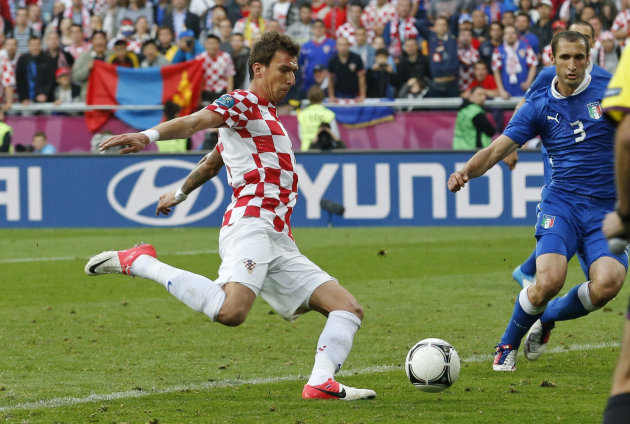 Croatia's Mario Mandzukic scores a goal during the Euro 2012 soccer championship Group C match between Italy and Croatia in Poznan, Poland, Thursday, June 14, 2012. (AP Photo/Antonio Calanni)