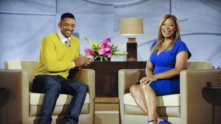 "This undated publicity photo released by Sony Pictures Television shows Will Smith, left, with Queen Latifah, on ""The Queen Latifah Show,"" where he also serves as executive producer. The singer-actress' new daytime talk show debuts Monday, Sept. 16, 2013. (AP Photo/Sony Pictures Television)"