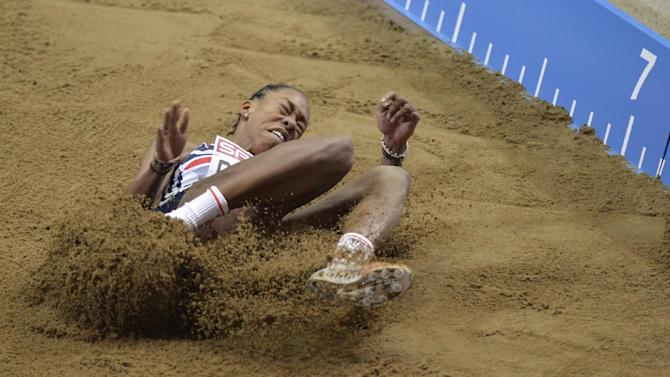 Britain's Shara Proctor reacts failing to win the bronze in the women's long jump during the Athletics Indoors European Championships in Gothenburg, Sweden, Saturday, March 2, 2013. (AP Photo/Martin Meissner)