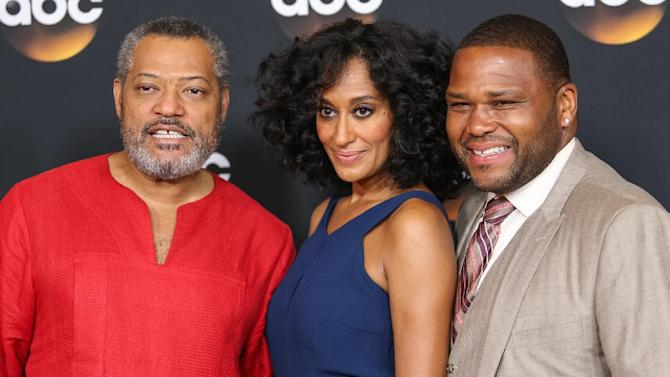 From left, Laurence Fishburne, Tracee Ellis Ross, and Anthony Anderson attend the Disney/ABC Television Group 2014 Summer TCA held at the Beverly Hilton Hotel on Tuesday, July 15, 2014, in Beverly Hills, Calif. (Photo by Paul A. Hebert/Invision/AP)