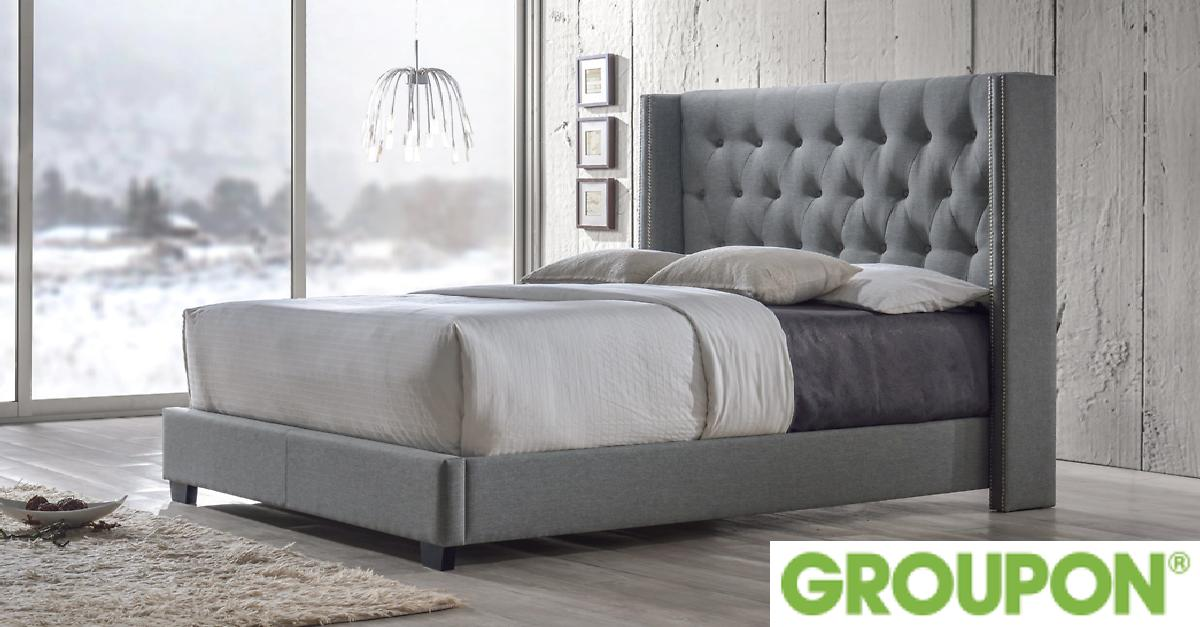 Curtin Upholstered Wingback Bed for $469.99