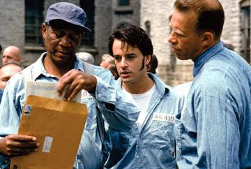 Morgan Freeman , Gil Bellows and Brian Libby in Warner Brothers' The Shawshank Redemption