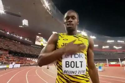 Jamaica wins Men's 4x100 Relay World Championship, Usain Bolt celebrates with LeBron James stomp