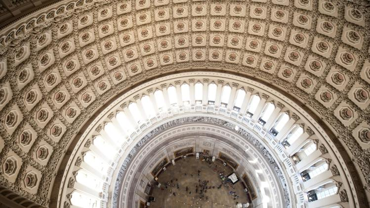 The inside of the U.S. Capitol's rotunda is seen during a media tour on Capitol Hill in Washington