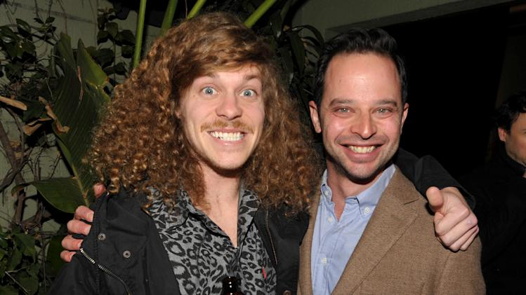 "Actor/writer Anders Holm, left, and actor/comedian Nick Kroll attend an exclusive screening of Comedy Central's ""Kroll Show"" hosted by Entertainment Weekly on Tuesday, January 15, 2013 at LA's Silent Movie Theatre in Los Angeles. (Photo by John Shearer/Invision for Entertainment Weekly/AP Images)"