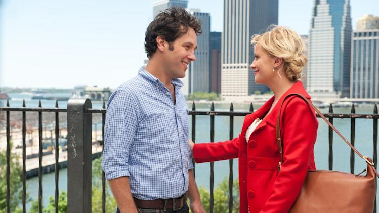 "This image released by Lionsgate shows Paul Rudd, left, and Amy Poehler in a scene from ""They Came Together."" (AP Photo/Lionsgate, JoJo Whilden)"