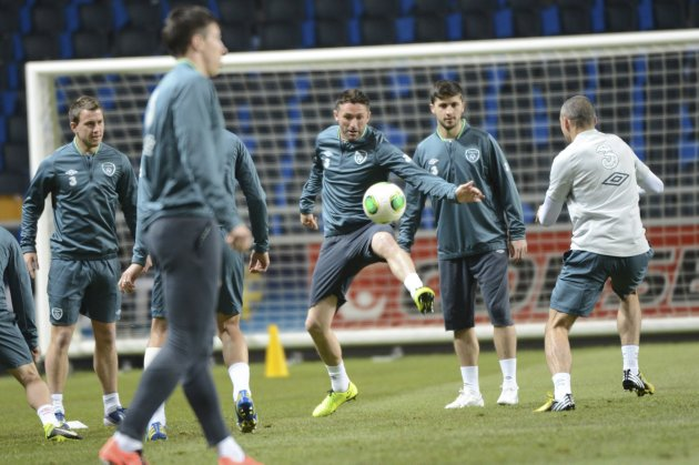 Ireland's striker Robbie Keane attends a training session at Friends Arena in Stockholm