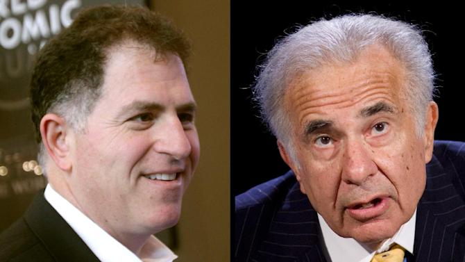 This combination of Associated Press file photos shows, left, Dell founder Michael Dell, left, on Jan. 26, 2011, and Carl Icahn, on Oct. 7, 2007. Billionaire investor Carl Icahn says he will ask a Delaware judge to assess whether a proposed $24.4 billion acquisition of Dell represents a fair price for the struggling personal computer. It is Icahn's latest attempt to wrangle a higher offer from buyout group that includes company CEO Michael Dell. (AP Photos/Dell-Virginia Mayo, Icahn-Mark Lennihan)