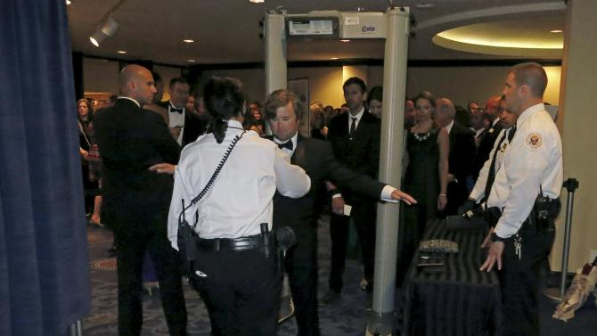 Actor Haley Joel Osment passes through a U.S. Secret Service checkpoint as he heads in to the 2015 White House Correspondents' Association Dinner in Washington