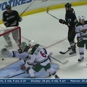 Josh Harding lunges to rob Corey Perry