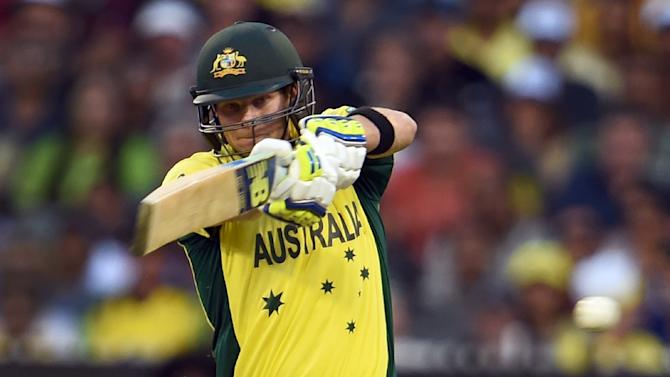 Steve Smith pulls a ball to the boundary during the Cricket World Cup final in Melbourne on March 29, 2015