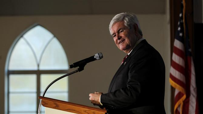 Republican presidential candidate former House Speaker Newt Gingrich makes remarks during a campaign event at the Jones Memorial AME Zion Church, Saturday, Jan. 14, 2012, in Columbia, S.C. (AP Photo/Matt Rourke)