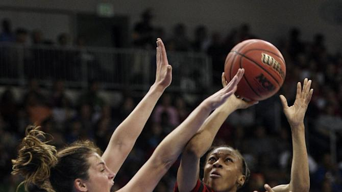 Nebraska guard Tear'a Laudermill (1) shoots against Duke guard Haley Peters (33) during a regional semifinal game of the women's NCAA college basketball tournament Sunday, March 31, 2013, in Norfolk, Va.  (AP Photo/Jason Hirschfeld)