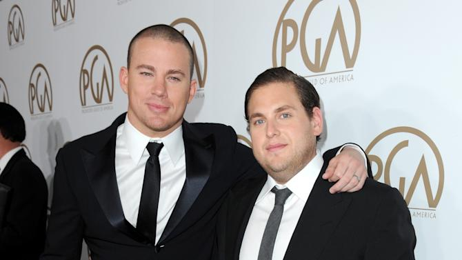 Channing Tatum, left, and Jonah Hill arrives at the 24th Annual Producers Guild (PGA) Awards at the Beverly Hilton Hotel on Saturday Jan. 26, 2013, in Beverly Hills, Calif. (Photo by Jordan Strauss/Invision for The Producers Guild/AP Images)