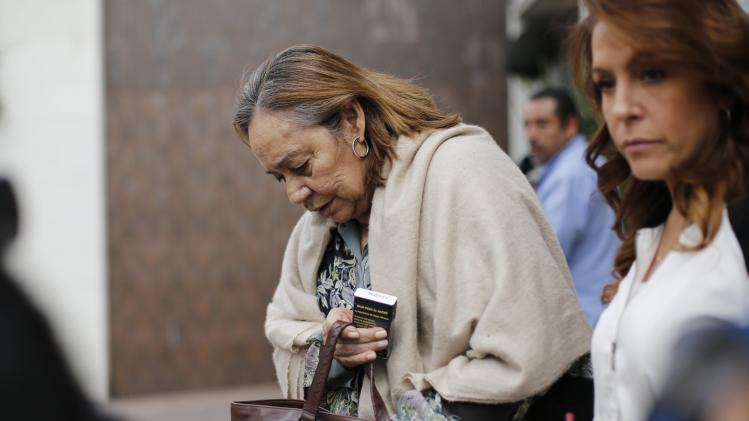 Mercedes Barcha, wife of Colombian writer Gabriel Garcia Marquez, leaves from the wake of Colombian writer Alvaro Mutis at a private funeral home in Mexico City