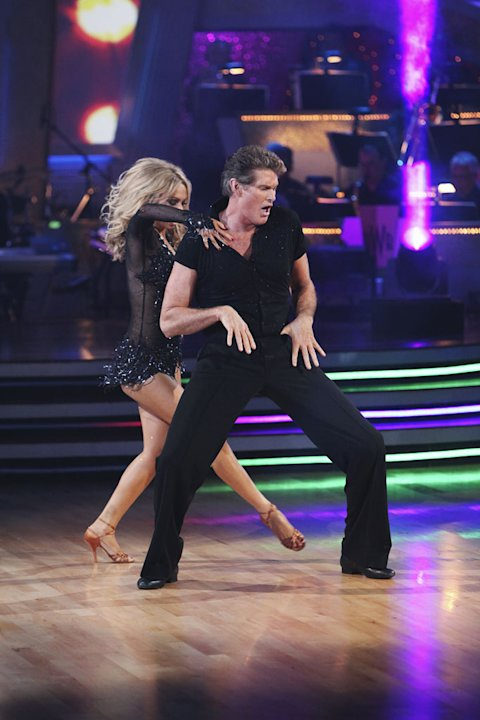 "Kym Johnson and David Hasselhoff perform on ""Dancing with the Stars."""