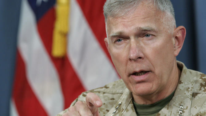 US General James T. Conway discusses Iraq at the Pentagon in Washington, DC on May 17, 2007