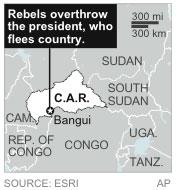 Map shows Central African Republic where rebels have overthrown their president