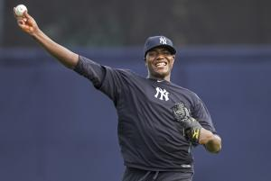 New York Yankees pitcher Michael Pineda throws during baseball spring training at George M. Steinbrenner Field Tuesday, Feb. 12, 2013, in Tampa, Fla. (AP Photo/Scott Iskowitz)