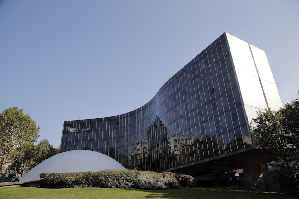This Oct. 22, 2012 photo shows the headquarters of French Communist Party, designed by Brazilian architect Oscar Niemeyer, in Paris. According to a hospital spokeswoman on Wednesday, Dec. 5, 2012, famed Brazilian architect Oscar Niemeyer has died at age 104. (AP Photo/Christophe Ena)