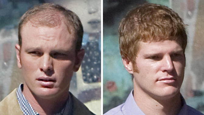 FILE - In this combo made from Sept. 19, 2011 file photos, Caleb Malboeuf, left, and cousin David Malboeuf arrive at Federal Court in Flagstaff, Ariz. Two cousins who started the largest wildfire in Arizona history learn Thursday Nov. 8, 2012, what they owe to the community in restitution. (AP Photo/Matt York, File)