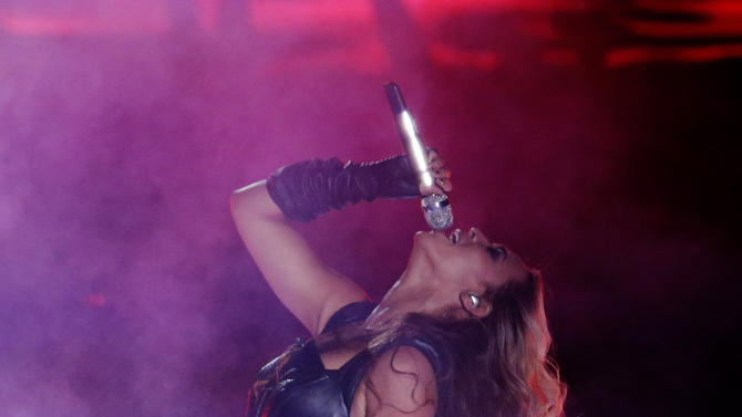 Beyonce performs during the halftime show of the NFL Super Bowl XLVII football game between the San Francisco 49ers and the Baltimore Ravens, Sunday, Feb. 3, 2013, in New Orleans. (AP Photo/Gerald Herbert)