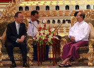 Myanmar President Thein Sein, right, talks with U.N. Secretary-General Ban Ki-moon during their meeting at the presidential house in Naypyitaw, Myanmar Monday, April 30, 2012. Ban is on a three-day visit in Myanmar to see how the world body can help promote the country's tentative steps toward democratic reform. (AP Photo/Khin Maung Win)