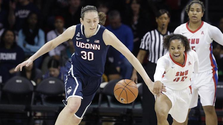 Top-ranked UConn women roll past SMU 81-48