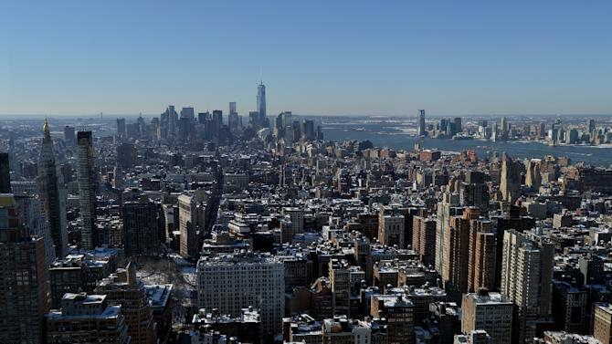 A luxurious New York apartment, city skyline seen here, furnished with bullet-proof panic rooms and a sushi island bar is on the market for an eye-watering $48.5 million, reportedly the property of Saudi royalty