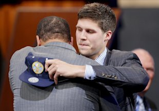 Doug McDermott is congratulated after being selected 11th overall. (AP)