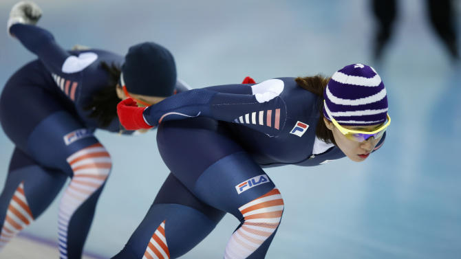 South Korean speedskater Lee Sang-hwa trains at the Adler Arena Skating Center during the 2014 Winter Olympics in Sochi, Russia, Friday, Feb. 7, 2014. (AP Photo/Pavel Golovkin)
