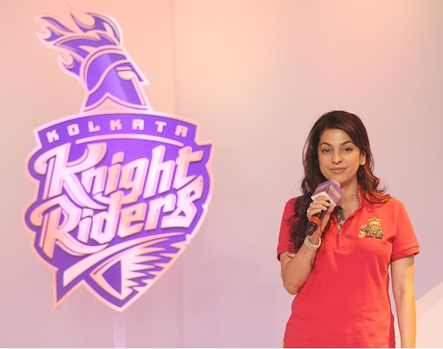 Kolkata Knight Riders owners Shah Rukh Khan, Juhi Chawla and Jai Mehta at the launch of their new logo and jersey in Mumbai on Tuesday