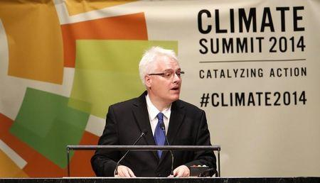 Croatian President Ivo Josipovic speaks during the Climate Summit at the United Nations Headquarters in New York,