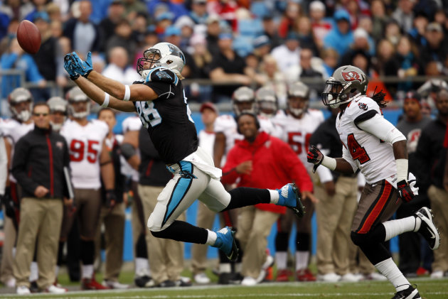 Carolina Panthers' Greg Olsen (88) misses a catch as Tampa Bay Buccaneers' Mark Barron (24) defends during the first half of an NFL football game in Charlotte, N.C., Sunday, Nov. 18, 2012. (AP Photo/N