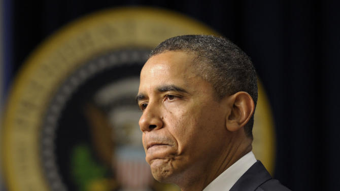 President Barack Obama speaks to continue to push Congress to act to extend the payroll tax cut and unemployment insurance through the end of the year, Tuesday, Feb. 14, 2012,  in the Old Executive Office building on the White House complex in Washington. (AP Photo/Susan Walsh)