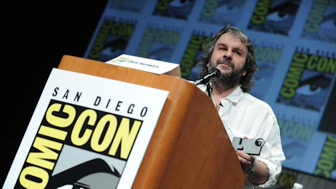 """Peter Jackson speaks at the """"The Hobbit: An Unexpected Journey"""" panel 2012 Comic Con on Saturday, July 14, 2012 in San Diego, Calif. (Photo by Jordan Strauss/Invision/AP)"""