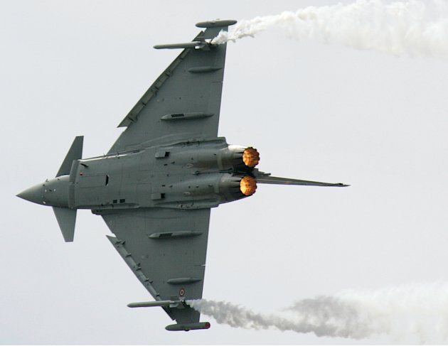 In this June 16, 2005 filer photo, a Eurofighter Typhoon performs at the 46th International Paris Air Show at Le Bouget airport, north of Paris. In a deal that could be worth billions of dollars and d