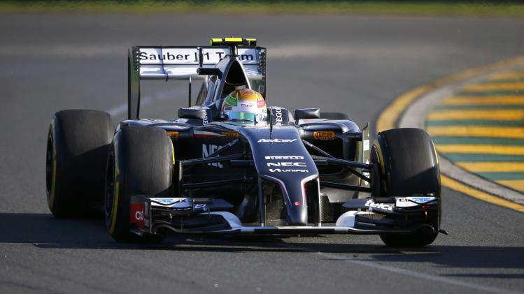 Sauber Formula One driver Gutierrez of Mexico takes a corner during the second practice session of the Australian F1 Grand Prix in Melbourne
