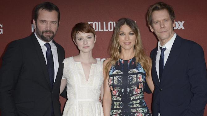 """From left, James Purefoy, Valorie Curry, Natalie Zea, and Kevin Bacon arrive at the Academy Screening and Q and A for """"The Following"""" at the Leonard H. Goldenson Theatre on Monday, April 29, 2013 in North Hollywood, Calif. (Photo by Richard Shotwell/Invision/AP)"""